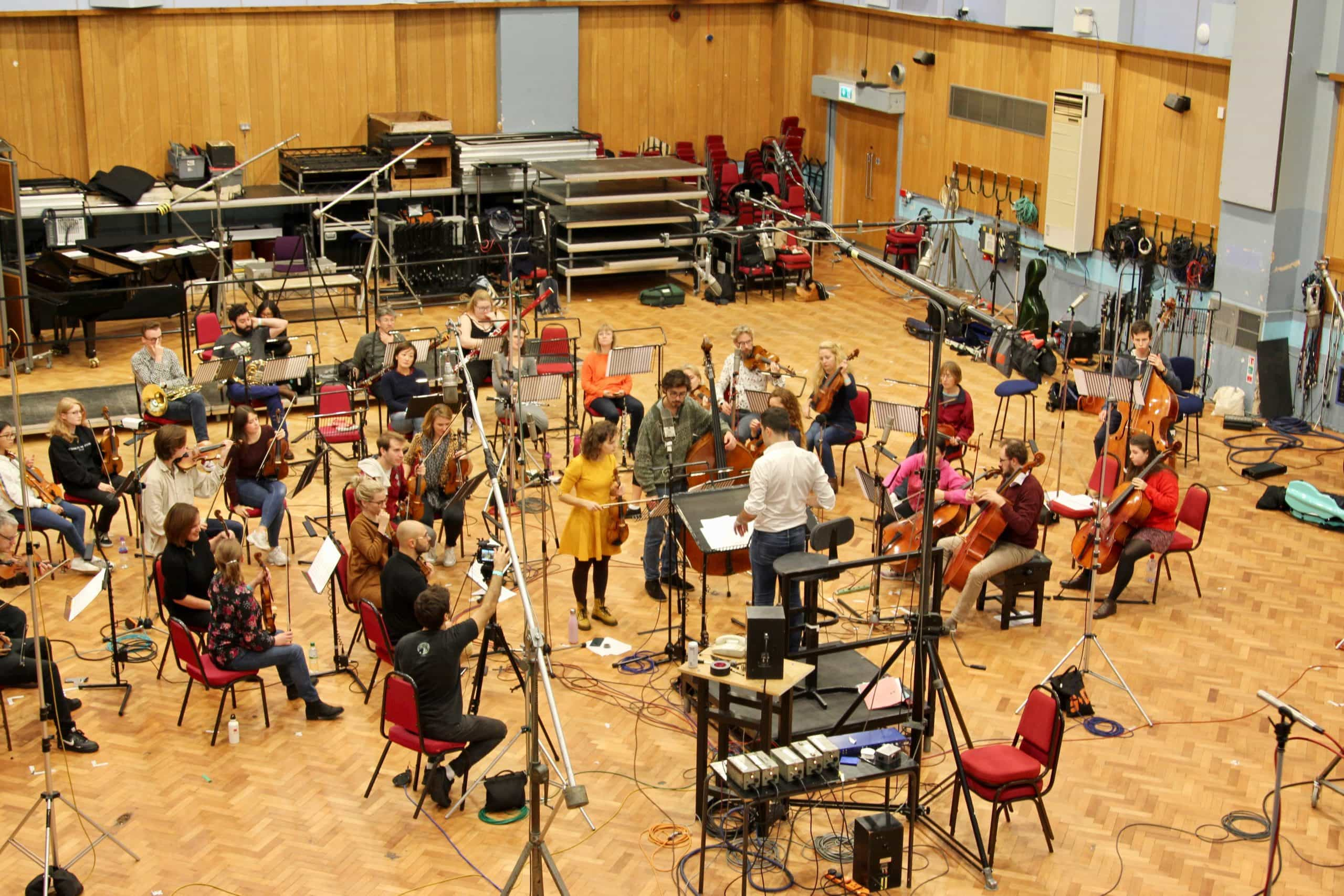 The London Euphonia Orchestra recording in Abbey Road Studio One